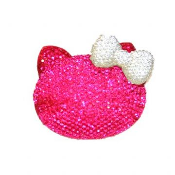 1piece x 54mm*44mm*10mm Diamond acrylic flat back hot pink colour bonjour kitty head with clear bow -- DAFB-BK03